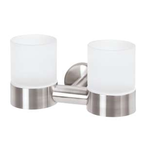 bremermann Bad-Serie PIAZZA - Doppel-Glasbecherhalter, Edelstahl matt & Glas