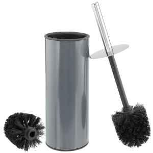 bremermann WC-Garnitur, Behälter in grau, Griff Edelstahl, Standbürste
