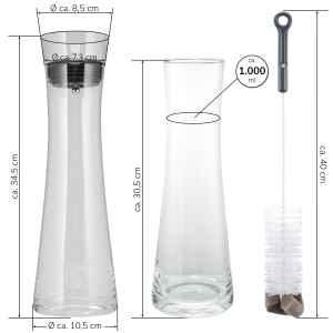 bremermann Glaskaraffe AMISA 1,2 Liter, Wasserkaraffe, transparent (schwarz)