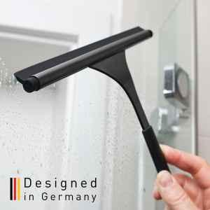 bremermann Duschabzieher RONDINE aus Edelstahl inkl. Wandhalter kein Bohren 3M Klebebefestigung Fensterabzieher Duschwischer matt schwarz