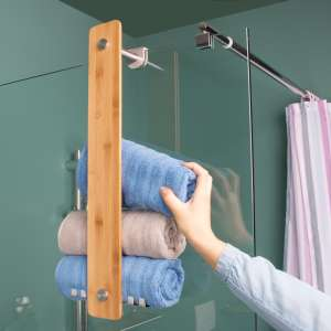 bremermann Bad-Serie PIAZZA BAMBUS Handtuchhalter, für Handtücher und Gästehandtücher, Bambus und Edelstahl