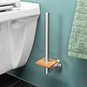 bremermann Bad-Serie PIAZZA BAMBUS Ersatzrollenhalter aus Edelstahl & Bambus für 2 Toilettenpapierrollen