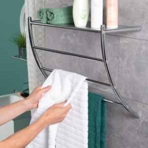 bremermann Handtuchhalter mit Regal 2in1, 3 Handtuchstangen, 56 x 43,5 cm, verchromt