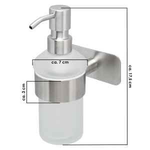 bremermann Bad-Serie PIAZZA TAPE Seifenspender selbstklebend Glas & Edelstahl, matt kein Bohren 3M Klebebefestigung