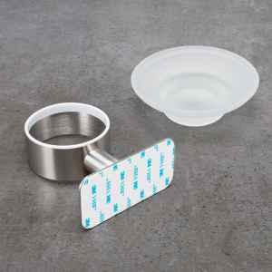 bremermann Bad-Serie PIAZZA TAPE Seifenschale selbstklebend Glas & Edelstahl, matt kein Bohren 3M Klebebefestigung
