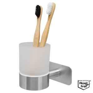 bremermann Bad-Serie PIAZZA TAPE - Becherhalter selbstklebend, Glas & Edelstahl, matt - kein Bohren 3 M Klebebefestigung