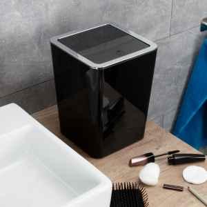 bremermann Bad-Serie SAVONA - Kosmetikeimer mit Schwingdeckel quadratisch, Badeimer, Kunststoff, 6 Liter (schwarz)