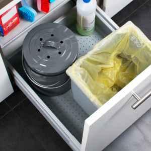 bremermann Komposteimer mit 5 Liter Inneneimer Aktivkohlefilter Bio Abfalleimer grau