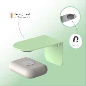bremermann Magnet-Seifenhalter PUREZZA – frei hängende Seife durch Magnet – Kleben oder Bohren, hellgrün