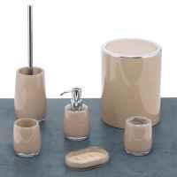 bremermann Bad-Serie SAVONA - WC-Garnitur mit langem Griff, aus Kunststoff, cappuccino-braun