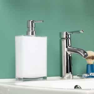 bremermann Seifenspender XL mit ca. 500 ml Füllmenge, Kunststoff eckig, transparent/weiß