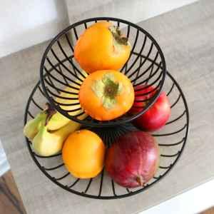 bremermann Obst Etagere, Obstschale, Drahtkorb rund, Ø ca. 18 und 30 cm, schwarz matt