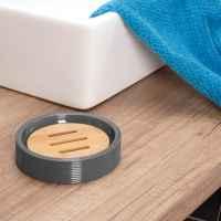 bremermann Seifenschale SEGNO aus Bambus und Kunststoff // Seifenhalter für Stückseife, grau