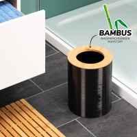 bremermann Kosmetikeimer SEGNO aus Bambus und Kunststoff // Abfalleimer // Mülleimer 5,5 Liter, schwarz