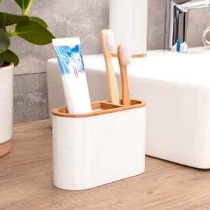 bremermann Zahnbürstenhalter SEGNO aus Bambus und Kunststoff // Utensilienständer, weiß