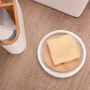 bremermann Seifenschale SEGNO aus Bambus und Kunststoff // Seifenhalter für Stückseife, weiß