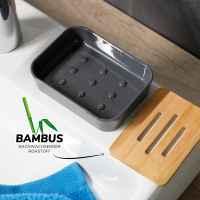 bremermann Seifenschale CALVI aus Bambus und Kunststoff // Seifenhalter für Stückseife, grau