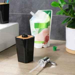 bremermann Seifenspender CALVI aus Bambus und Kunststoff // Füllmenge 320 ml, schwarz