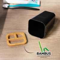 bremermann Zahnbürstenhalter CALVI aus Bambus und Kunststoff // Utensilienständer // Mundspülbecher, schwarz