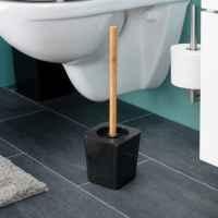 bremermann WC-Bürste CALVI aus Bambus und Kunststoff // WC-Garnitur // Toilettenbürste, schwarz
