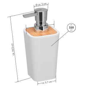 bremermann Seifenspender CALVI aus Bambus und Kunststoff // Füllmenge 320 ml, weiß