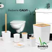 bremermann Zahnbürstenhalter CALVI aus Bambus und Kunststoff // Utensilienständer // Mundspülbecher, weiß