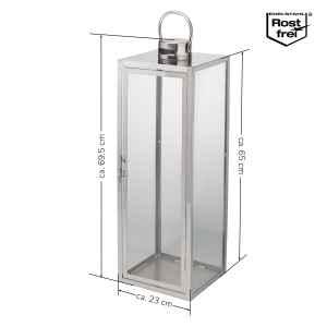 bremermann Edelstahllaterne mit Henkel, Dekolaterne tragbar, Höhe ca. 69,5 cm
