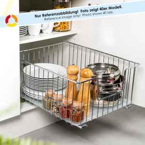 bremermann Schrank-Korbauszug 50 cm Breite // Boden-Teleskopschublade mit Einlegeboden // Küchenschublade