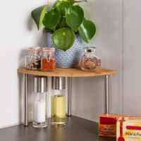 bremermann Bambus-Eckregal mit Edelstahl // ca. 25 x 20 x 25 cm (B/H/T) Küchenregal für mehr Stellfläche