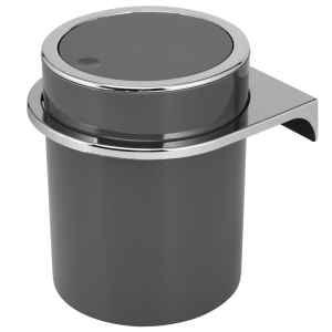 bremermann Kosmetikeimer SAVONA inkl. Wandhalterung // mit Schwingdeckel // Badeimer, Kunststoff, 5,5 Liter grau, rund
