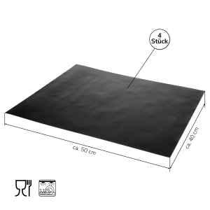 bremermann Grillmatten-Set 6tlg. inkl. Zange und Pinsel // Matte 50 x 40  cm // wiederverwendbare Grillunterlage auch für Backofen, Grillfolie