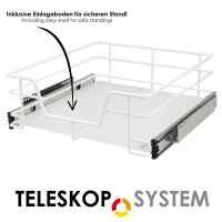 bremermann Teleskopschublade für 50 cm Schrank mit Einlegeboden Küchenschublade, weiß
