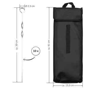 bremermann Grillspieße 10er Set, inkl. Aufbewahrungstasche // Edelstahl, 39 cm, gedreht