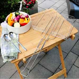 bremermann Grillkorb, verstellbar für Gemüse, Garnelen, Fleisch // Edelstahl // 3 Größen einstellbar // ca. 32,5 x 6,5 x 61 cm // Grillhalter