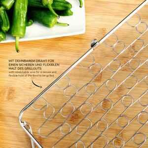 bremermann Grillkorb dehnbar // Edelstahl // 29,7 x 21,4 cm // für ganzen Fisch, Fleisch, Gemüse