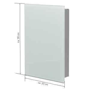 bremermann Schlüsselkasten mit weißer Glasfront, beschreibbar, 8 Haken, 6 Magnete, 1 Marker,1 Marker-Halter Korpus aus Metall grau pulverbeschichtet