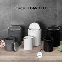 bremermann Mini-Kosmetikeimer GAVELLO mit Schwingdeckel // Badeimer mit Rillendekor, Kunststoff 1,5 Liter schwarz, rund