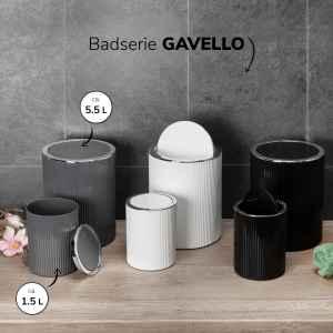 bremermann Kosmetikeimer 2er Set GAVELLO mit Schwingdeckel // Mini 1,5 L und 5,5 L Badeimer mit Rillendekor, Kunststoff grau, rund