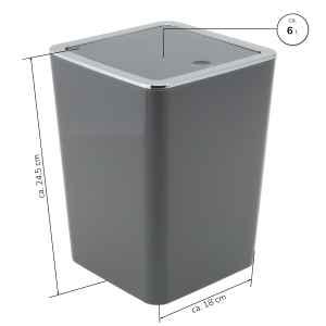 bremermann Bad-Serie SAVONA - Kosmetikeimer mit Schwingdeckel, quadratisch, Badeimer, Kunststoff, 6 Liter (grau)