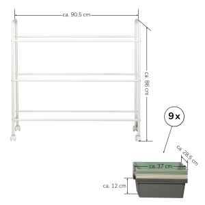 bremermann Rollwagen, Allzweckwagen, weißer Stahl mit 9 Boxen in weiß, grau, grün