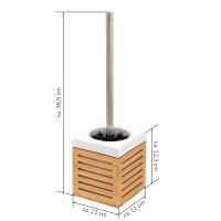 bremermann WC-Bürstenhalter, Bambus, Keramik, weiß, WC-Garnitur, Toilettenbürstenhalter