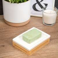 bremermann Badezimmer-Set 4-tlg., Bambus, Keramik, weiß, Badezimmer-Zubehör-Set