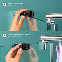 bremermann Hakenleiste für Glasduschwände, Doppel-Hakenleiste mit 4 Haken, Handtuchalter schwarz