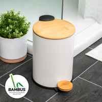 bremermann Mülleimer mit Bambus-Deckel, Bad-Abfalleimer mit Soft-Close, 3 l, weiß
