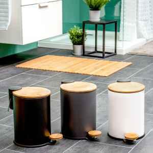 bremermann Mülleimer mit Bambus-Deckel, Bad-Abfalleimer mit Soft-Close, 3 l, schwarz