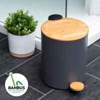 bremermann Mülleimer mit Bambus-Deckel, Bad-Abfalleimer mit Soft-Close, 5 l, grau