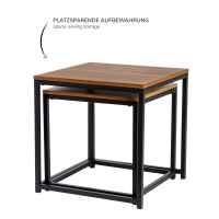 bremermann Beistelltische 2er-Set, verschachtelbare Satztische, MDF-Platte, Fußkappen, schwarz/Holzoptik
