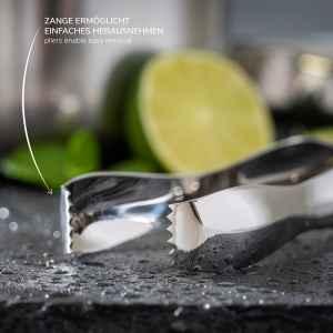 bremermann Eiswürfelbehälter mit Zange, Edelstahl-Eiskübel mit Deckel 1,5l, rund