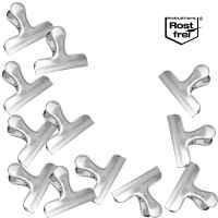 bremermann Verschlussklammern breit, 12 Stück, aus Edelstahl