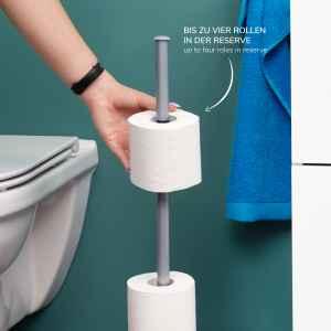 bremermann Stand-WC-Rollenhalter 2in1, Ersatzrollenhalter (4 Rollen), grau